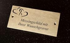MESSINGSCHILD Türschild mit Herzen - 125x60mm rechteckig - mit WUNSCHGRAVUR