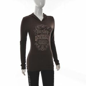 Harley Davidson Bravado Motorcycle Womens Tunic Pullover Hooded Pocket Sweater S