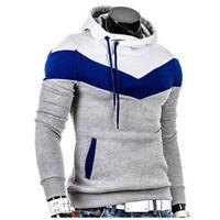 Men's Casual Spliced Tops Slim Fit Hoodie Sweater T-Shirt Sweatshirts Outwear LS