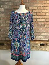 Women's Laundry by Shelli Segal Tunic Dress 3/4 sleeve Multi-Color Size M