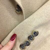 JOS A BANK Men Beige TROPICAL Sport Coat ISLAND Jacket NATURAL SILK Blazer 44 L