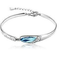 WHITE Gold Plated austriaco Crystal Blue Bracciale Bangle