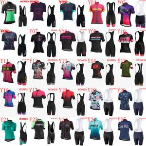 Womens Cycling Jersey Bib Shorts Set Summer Team Bike Outfits Sports Uniform