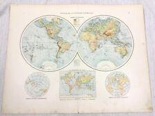 1896 Antique World Map Western Eastern Hemisphere Globe German 19th Century