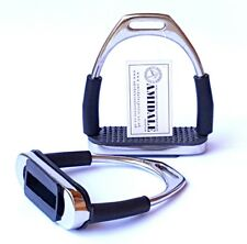 AMIDALE FLEXI SAFETY STIRRUPS HORSE RIDING BENDY IRONS STAINLESS STEEL BNWT