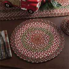 """Christmas Holly Berry Braided Cotton Single Placemat ~ 16"""" Diameter"""