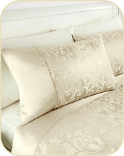 BRAND NEW PAIR OF REGENCY WOVEN JACQUARD HOUSEWIFE PILLOWCASES COLOUR CREAM BNWT