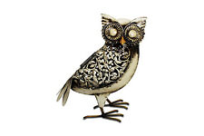 Solar Garden Light White Metal Owl Hand Crafted GIFT - FREE DELIVERY D3
