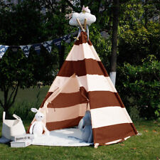 NEW! KIDS TEEPEE - INDIAN TEPEE FORT FOR CHILDREN PLAY ROOM -BROWN/WHITE STRIPE