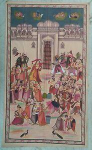 GIANT PICHHWAI INDIA PAINTING KRISHNA PLAYING HOLI WITH RADHA AND GOPIS