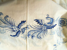 """Embroidered Tablecloth Napkins BEIGE/BLUE Quetzal Birds & Flowers 54"""" x 72"""" NICE"""