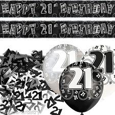 Black Silver Glitz 21st Birthday Banner Party Decoration Pack Kit Set