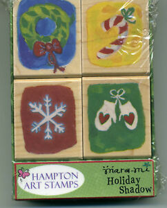 Set of 4 Holiday Shadow Wood Mounted Rubber Stamps BNIB