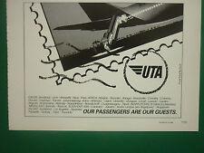 10/1985 PUB COMPAGNIE AERIENNE UTA AIRLINE BOEING 747 AIRLINER AFRIQUE AD