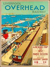 Liverpool England Railway Vintage Railroad Travel Adventure Art Poster Print