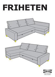 7x Ikea Friheten Sleeper Sectional Sofa Legs Plastic, Brown Part # 128865