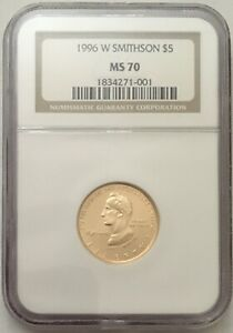 1996-W Smithsonian  $5 Gold Commemorative Coin NGC MS70