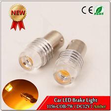 2x 7W Amber 1156 7506 COB Ba15S LED Car Bulbs Turn Signal LED Bulb 12V DC 3000K