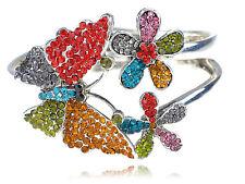 Lady Trendy Mult- Colorful Crystal Rhinestone Butterfly Bracelet Bangle Cuff