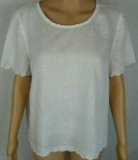 J. Crew Women's (12 Petite) White 100% Linen Short Sleeve Top