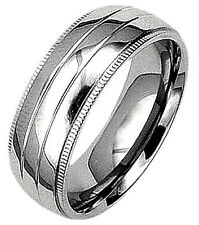 TITANIUM Highly Polished Plain RING with ACCENTS, sizes 8, 9, 10, 11, 12, 13