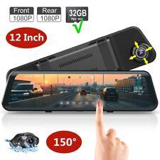 "Cam 12"" Mirror Video Streaming Rear View Dual Lens 1080P Car Camera Night Vision"