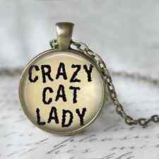 Crazy Cat Lady, ALTERED ART Cameo Pendente collana, gioielli CABOCHON, bronzo