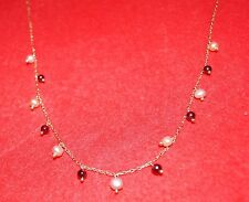 14K Garnet & White Seed Pearl NECKLACE 1970 Vintage in Stunning Condition SIGNED