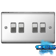 Nexus BG Electrical Npc44 Metal Polished Chrome 4 Gang 2 Way 10ax Plate Switch