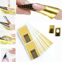 Nail Extension Stickers Form Guide French Manicure Gold Acrylic UV Gel Builder
