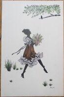 Silhouette 1920s Torzor/Artist-Signed Postcard - Woman Walking w/Flower Bouquet
