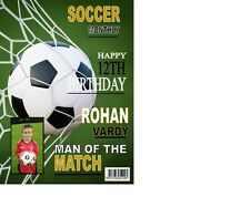 PERSONALISED Football Soccer Magazine Front Page  Birthday Card A5
