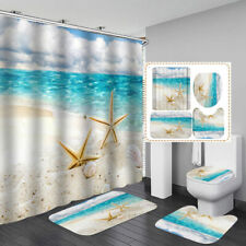 Beach Starfish Sea Shower Curtain Bath Mat Toilet Cover Rug Bathroom Decor