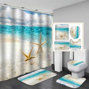 Beach Starfish Sea Shower Curtain Bath Mat Toilet Cover Rug Bathroom Decor