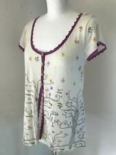 WHITE STUFF Cream 3 Button Short Sleeve Cardigan Top With Tree & Birds Size 12