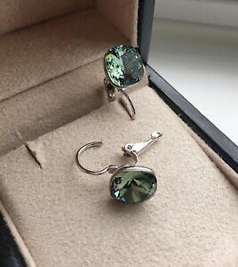 Dangle square 8mm Green Swarovski crystal with bella pierced earrings