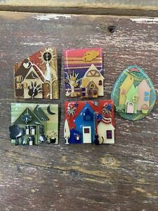 PATRIOTIC 4th of July HOUSE PIN by LUCINDA Flag Fireworks Cat WEARABLE ART
