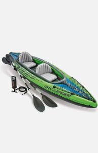 Intex K2 Challenger Kayak Man Inflatable Canoe with Aluminum Oars & Hand Pump UK