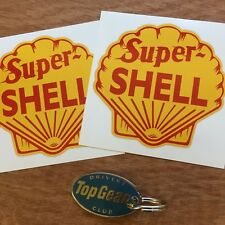 """SUPER SHELL Classic Vintage Retro Petrol Stickers Decals 4"""" (100mm) 2 off"""