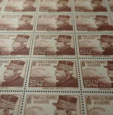 FEUILLE SHEET TIMBRE MARÉCHAL JOFFRE N°454 x25 1940 NEUF ** LUXE MNH COTE 292€