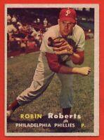 1957 Topps #15 Robin Roberts EX+ WRINKLE HOF Philadelphia Phillies FREE SHIPPING