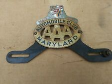 Original AAA AutoMobile Club Maryland 1940s - 1950s Honor Member Tag Topper