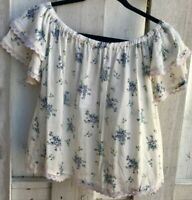 NWT ANGIE (NORDSTROM'S) Off-The-Shoulder White-&-Blue Floral Short Top Sz Small