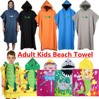4 Adult Kids Hooded Towel Changing Robe Beach Towel Surf Short Sleeve Quick Dry