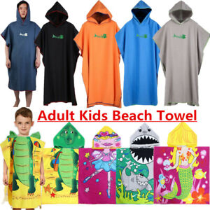 Adult Kids Hooded Poncho Towel Changing Robe-Beach Towel-Surf Kitesurf Large UK