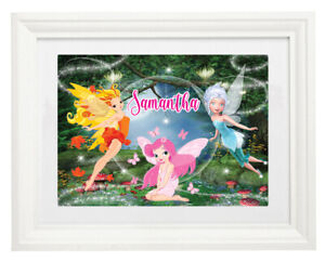 Personalised Name White Framed Art Print Picture Fairies Fairy Enchanted Forest