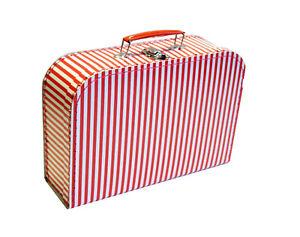 Pappkoffer rot weiß gestreift, verschiedene Größen