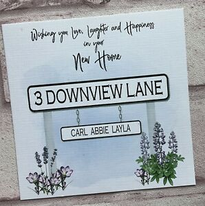 PERSONALISED Handmade NEW HOME CARD Lilac Road Sign
