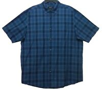 Claiborne Eclipse Glenn Blue Check Button Dress Shirt Men's Size XLT New