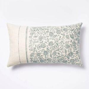 Floral Striped Throw Pillow Blue/Cream Threshold™ by Studio McGee Target 14x24